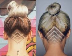 Undercut frau lange haare