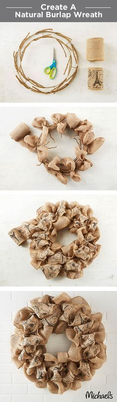 A simple burlap wreath is the perfect door décor. Tie burlap bows onto the wreath form using the attached wire stems. Layer on a printed burlap ribbon and voilà - you have a warm welcome for your front door. Find everything you need to make this wreath at your local Michaels store!