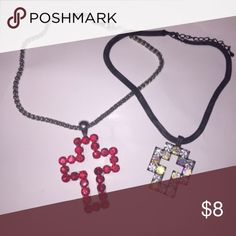 Rhinestone Cross Necklace Rhinestone cross necklace. Chunky western heavy necklace. Perfect to add to other necklaces or to wear alone. Price is for each will sell both together for $12 Jewelry Necklaces