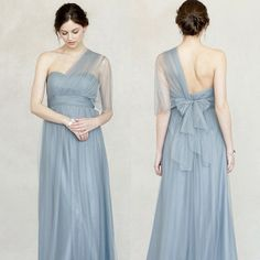 Annabelle Dress in Mayan Blue worn as a draped one shoulder.  http://www.jennyyoo.com/soft-tulle-02.html