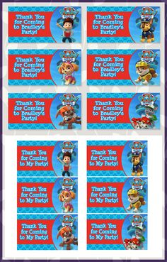 Free Printable Paw Patrol Goody Bag Tags
