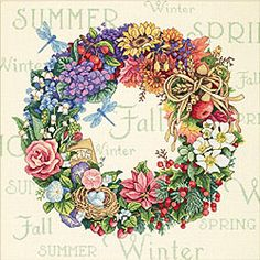 Dimensions Gold Collection Counted Cross Stitch Kit, A Wreath of All Seasons, 18 Count Ivory Aida, x Counted Cross Stitch Patterns, Cross Stitch Embroidery, Embroidery Patterns, Hand Embroidery, Dimensions Cross Stitch, Cross Stitch Flowers, Four Seasons, Cross Stitching, Needlework