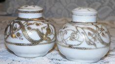 Antique Nippon Porcelain Salt Pepper Set White w Gold Encrusted Dots Floral d