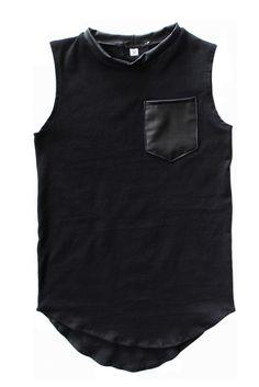 Tail Pocket Tank | Black & Faux Leather | TwoLittleKings