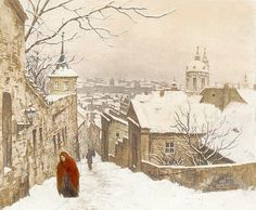 The Stairs of the Castle in Winter by Czech Artist  TAVIK FRANTIŠEK ŠIMON; I love the pop of red color