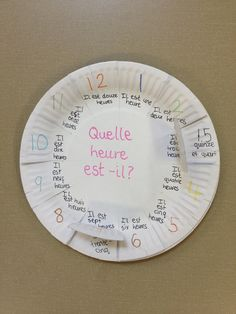 In Year 6 we have been learning about time. To help the children, we created French teaching clocks using paper plates with o'clock times on the top and the minutes past and other vocabulary … French Teaching Resources, Teaching French, Teaching Spanish, Preschool Spanish, French Lessons, Spanish Lessons, Learn Spanish, Spanish Games, Spanish Activities