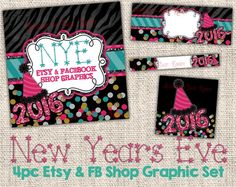 NYE Shop Banner Set - New Years Eve Facebook Timeline Cover - New Years Etsy Shop Set - Holiday Etsy Banner Set - Holiday Shop Banner Set