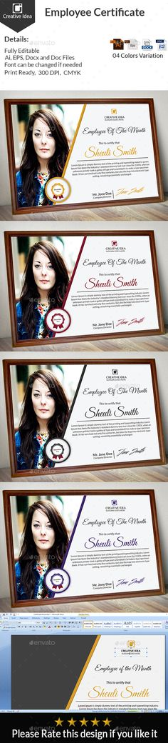 Employee Certificate by sheuli Employee Certificate Details: with bleed Horizontal)Editable colors Certificate Design, Certificate Templates, Free Certificates, Free Fonts Download, Anime Artwork, Infographic Templates, Stationery Design, Text Color, Graphic Design
