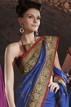 Glamour dark blue artificial silk saree
