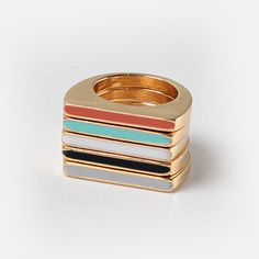 NEW Color Block Rings - Set of 5 separate rings you can mix & match. Only $12.95