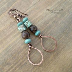 Metal Jewelry Stacked Teardrop Copper Earrings - Brown and Turquoise - Handmade wire wrapped earrings. Wire Wrapped Jewelry, Metal Jewelry, Custom Jewelry, Jewelry Box, Stone Jewelry, Jewelry Cabinet, China Jewelry, Black Jewelry, Jewelry Holder