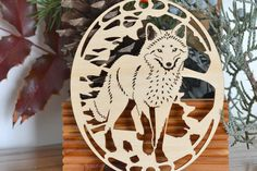 Wood fox ornament wood cut fox decoration Red Fox by WoodNotions Fox Ornaments, Diy Christmas Ornaments, Gravure Laser, Wolf Silhouette, Fox Decor, Pine Needle Baskets, Slab Pottery, Scroll Saw Patterns, Red Fox