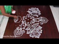 creative rose flower rangoli design with 9*5 dots II simple kolam for beginners II rangoli designs - YouTube