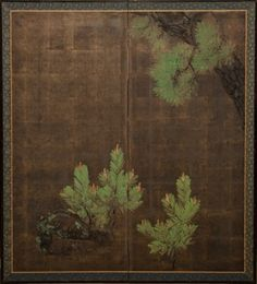 Japanese Screen: Young Pine Growing Below Old Pine on Silver