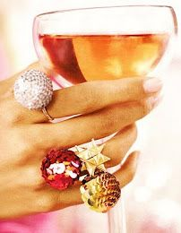 champagne and cocktail rings