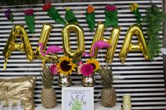 Modern luau bridal shower party! See more party planning ideas at CatchMyParty.com!