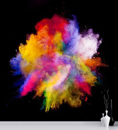 Item#6006 Burst of colorful powder on Black background. We can print this mural in any section of the color burst if needed for your wall space. Please contact