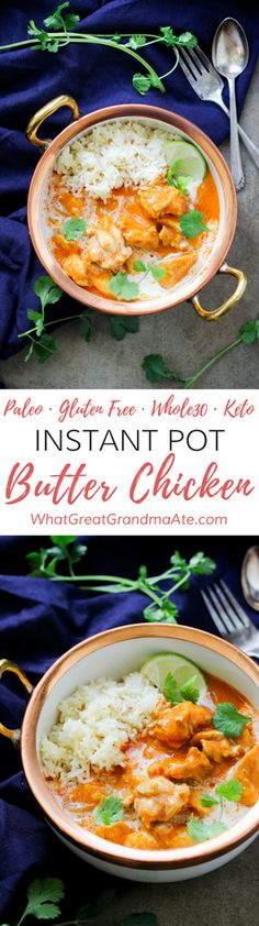 This quick and easy Paleo Instant Pot Butter Chicken is so creamy and packed with flavor from the combination of delicious spices. Pair it with cauliflower rice for a great low carb keto meal! Indian Food Recipes, Real Food Recipes, Chicken Recipes, Healthy Recipes, Ethnic Recipes, Keto Recipes, Fun Recipes, Ketogenic Recipes, Muffin Recipes