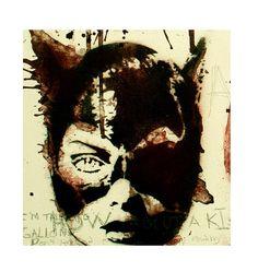 CATWOMAN La TERRORISTA de GOTHAM Batman 16 x 20 Canvas Stencil Spray Paint Acrylic Paint Original Painting