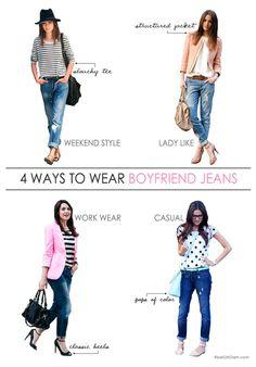 4 Ways to Wear Boyfriend Jeans #HowtoWearBoyfriendJeans