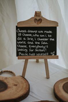 Cheese Rhyme Blackboard Wedding Sign - Maureen Du Preez Photography | Essense of Australia Zita Gown | Rustic Marquee Wedding on Bosta Beach, Great Bernera Island, Outer Hebrides of Scotland | Biba House of Fraser Bridesmaid Dresses
