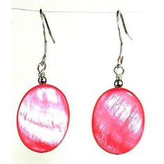 Pink Mother of Pearl Shell Oval Earrings - Starfish Project
