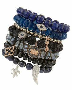-4WYX Sydney Evan Bead Bracelets with Diamonds