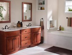 Ideas & Inspiration for Kitchen Cabinets, Bathroom, Laundry Rooms, Interior Door, Walkin Closets - Bertch Cabinets I like the nook in the wall by the tub Dresser Vanity Bathroom, Bathroom Cabinetry, Kitchen Cabinets, Bathroom Vanities, Bathrooms, Sinks, Bertch Cabinets, Used Cabinets, Bathroom Images