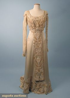 Augusta Auctions, October 2006 Vintage Clothing & Textile Auction, Lot 798: Arts & Crafts Wedding Gown, C. 1912