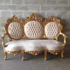 Antique Italian Rococo Throne Ivory Champagne Creme Suede Chair Bergere Fauteuil Wingback Sofa Settee Couch Sofa Gold Leaf Gild Frame Tufted by SittinPrettyByMyleen on Etsy