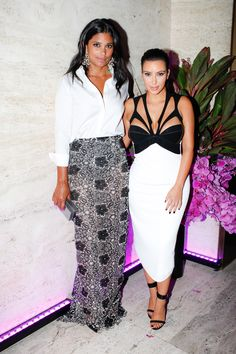 Rachel Roy and Kim Kardashian looking chic in black and white. #BrianAtwood #NYFW