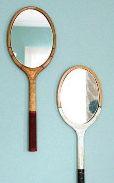 Vintage racket mirror, cool for the tennis lover or vintage sports equipment collector.