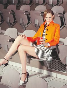 Stadium seating. Numéro Magazine #150 February 2014 | Holly Rose Emery by Kourtney Roy.