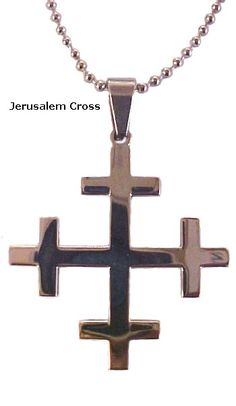 Stainless Steel Large Jerusalem Cross Necklace | Light a Candle and Pray to Jesus