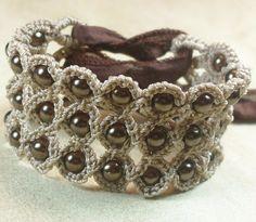 Crochet Jewelry Bohemian Bracelet or Cuff by GlowFlyJewelry