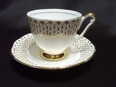 Queen Anne Fine Bone China Cup and Saucer Set Made in England Gold Trim | eBay