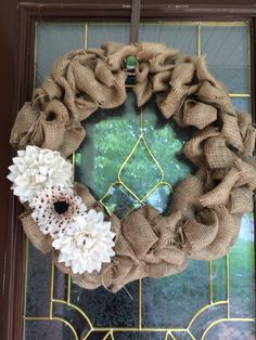 A personal favorite from my Etsy shop https://www.etsy.com/listing/236508752/burlap-wreath-with-floral-accent