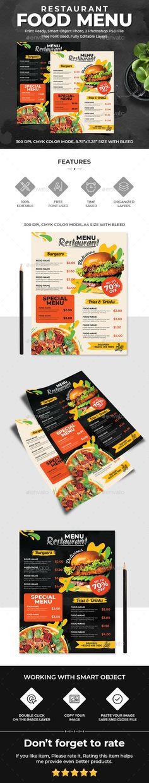 Restaurant Food Menu. Customizable professional template for a restaurant flyer. #FlyerTemplate #flyer #restaurant #GraphicTemplate #design #PrintDesign #black #blackboard #breakfast #burger #cafe #chalk #chalkboard #clean #FastFood #food #FoodMenu #hipster #landscape #lunch #menu #MenuDesign #MenuTemplate #modern #monochrome #post #poster #resto #simple #steak #template #trifold #typography #white Menu Design, Flyer Design, Print Design, Restaurant Flyer, Restaurant Recipes, Menu Flyer, Flyer Size, Halloween Flyer, Christmas Flyer