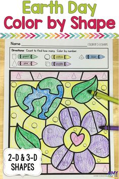 Earth Day themed color by the code worksheets!  These fun worksheets require students to color by 2-D and 3-D shapes.  These are a perfect addition to a kindergarten geometry unit.  Kids will love to search for shapes and color to match.  These math worksheets make for a great math center, early finisher activities, emergency sub activity, or addition to your math instruction.  Practice with 2D & 3D shapes and fine motor skills while having fun!