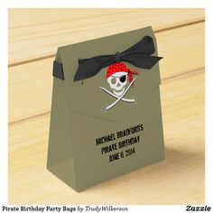 Pirate Birthday Party Bags Favor Box Pirate Birthday, Pirate Theme, Pirate Party Decorations, Kids Birthday Party Invitations, Party Bags, Favor Boxes, Ribbon Colors, Pirates, Party Supplies