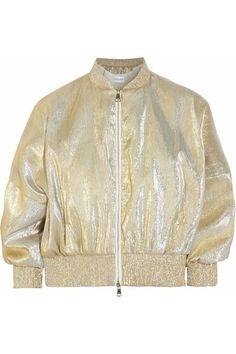 Gold silk-blend lamé Ribbed trims, fully lined Exposed zip fastening through front 58% silk, 42% polyester; lining: 100% silk Dry clean