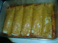Hamberger enchiladas : one pound ground beef, taco seasoning mix, flour tortillas, mild enchilada sauce, cheese of ur choice, just make it like a rolled taco put in any size pan put enchilada sauce over them then cheese then bake at 350