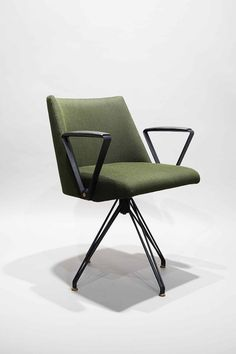 Swivel chair S88 by Osvaldo Borsani, Tecno Milano 1957 | From a unique collection of antique and modern armchairs at https://www.1stdibs.com/furniture/seating/armchairs/