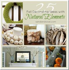 Natural Elements for Fall Decorating...from Sand & Sisal