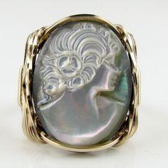 Mother of Pearl Shell Cameo Ring 14K Rolled Gold Custom Jewelry | cameojewelryart - Jewelry on ArtFire