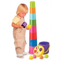 The Nest & Stack Buckets from International Playthings include a shape sorting bucket with a handle and 10 stacking cups, featuring numbered bases with images. Great for Bath Time Fun. 12 mos+.  Enjoy up to 5% cash back through RebateGiant. http://www.rebategiant.com/store/764/right-start.html