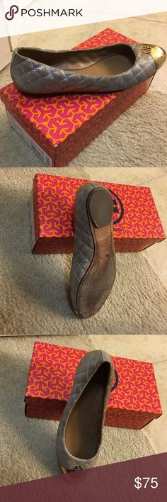 Tory Burch Gold Flats Worn once. Top and inside in excellent condition. Signs of wearing only on sole. Tory Burch Shoes Flats & Loafers