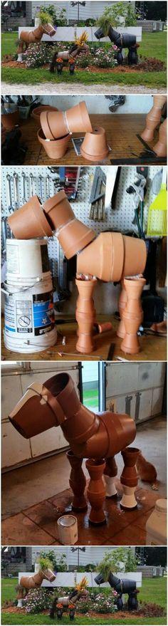 DIY Clay Pot Horses