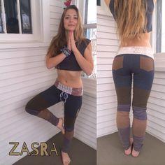 Eco color block leggings, yoga, hippie clothing, eco friendly, recycled, upcycled, sustainable fashion