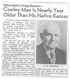 Oldest living native Kansan, Sylvester Hugh Beaman 1860 - 1957